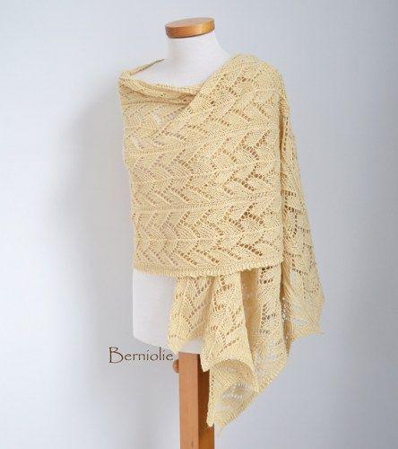 Lace knitted shawl Soft yellow, Vanilla M135 | Berniolie - Knitting on ArtFire