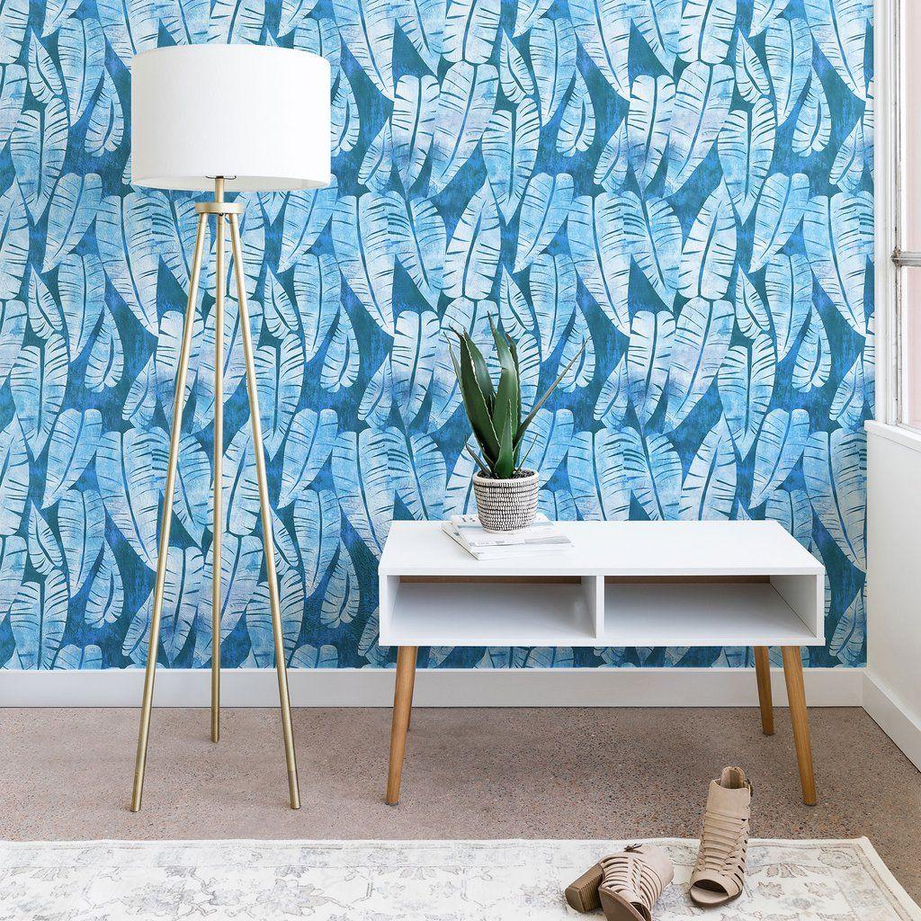 Island Goddess Leaf Turquoise Wallpaper Schatzi Brown