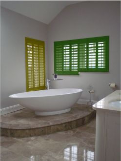 ... Pick Two Different Bright Coloured Shutters. But, Against The Clean  White Backdrop It Really Works And Creates A Superbly Stylish And Modern  Bathroom.