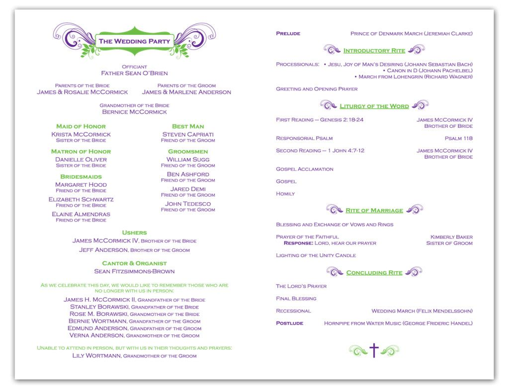 A wedding program is a great way to include guests at the wedding ...