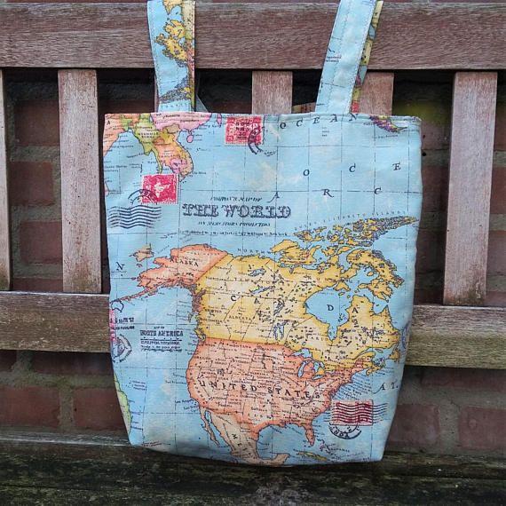 World map market bag blue atlas fabric tote bag shopping bag world map market bag blue atlas fabric tote bag shopping bag gumiabroncs Images