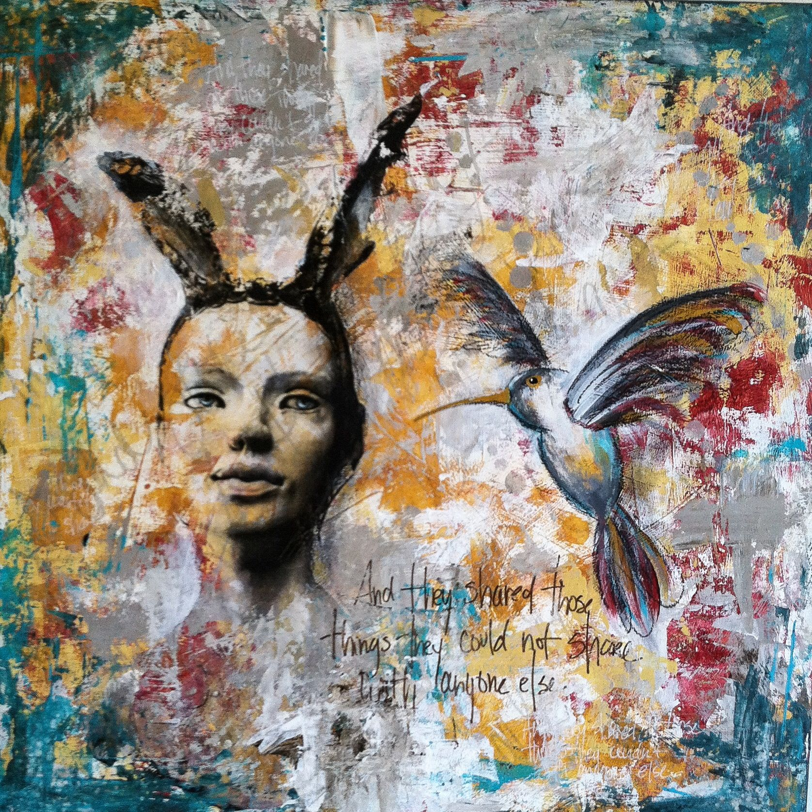 "Mixed media, 16""x16"" on panel, by Kelly Thiel. Birds, portrait, image transfer, acrylic, marker, oil pastel, Kelly Thiel Studio, mixed media art, mixed media painting"