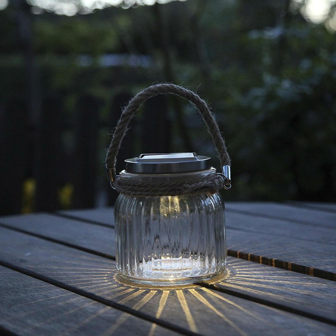 Lanterne Solaire d extérieur Transparent LED H11cm GLASS JAR
