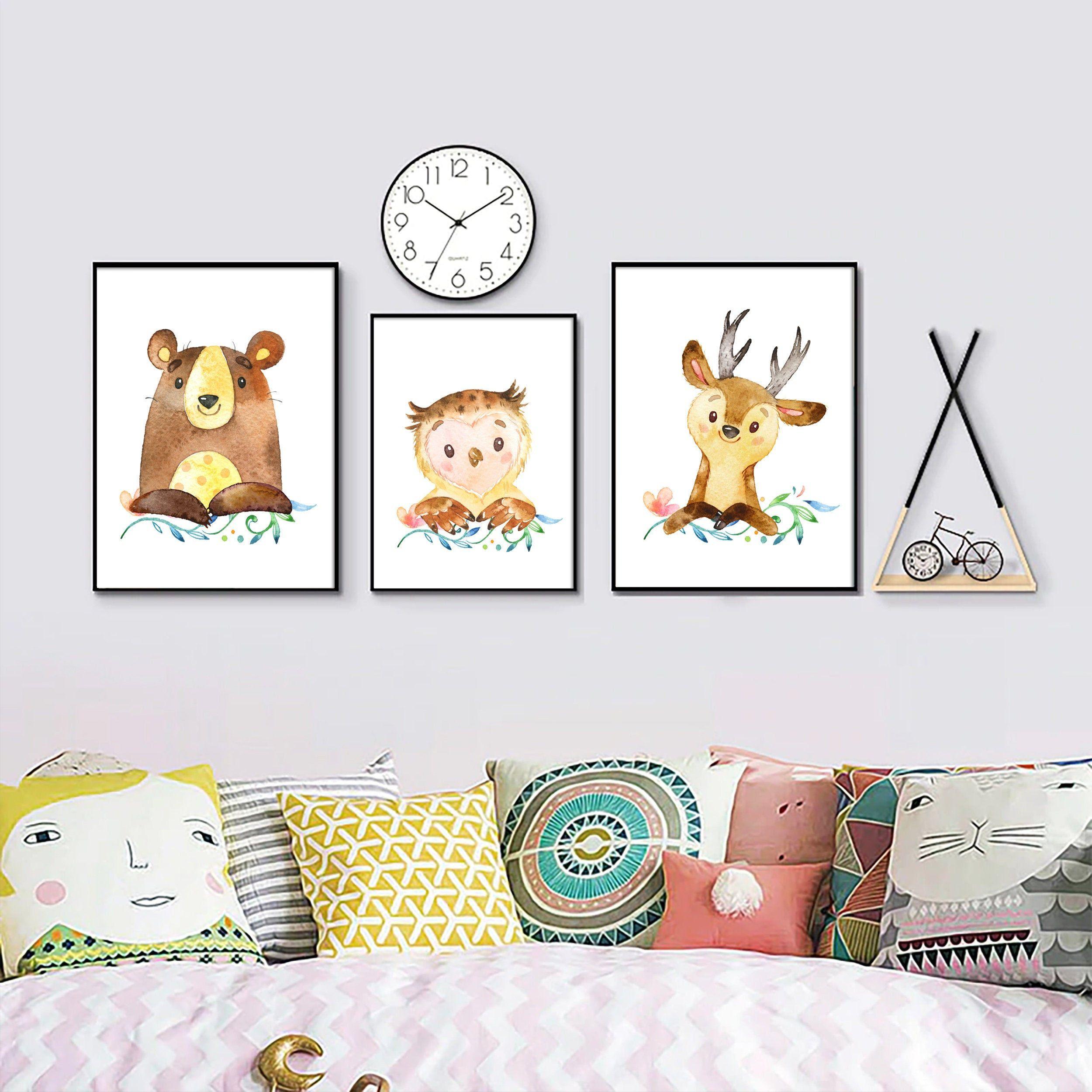 Woodland nursery print art set, Digital download set of 3