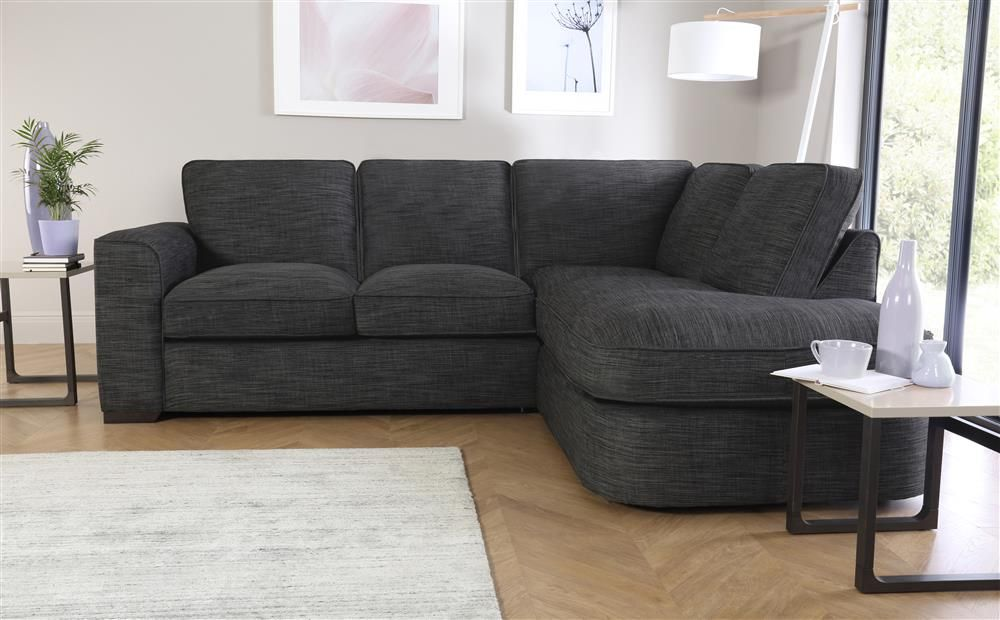 Boardwalk Grey Fabric L Shape Corner Sofa RHF | Modern sofa ...