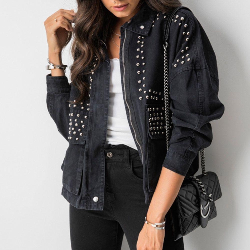 Women Cool Harajuku Rivet Jacket Coat Korean Short Black Jeans Jacket Beading Black Basic Coat Outfit Long Sleeve Zipper Jack Jackets Fashion Black Jean Jacket [ 1000 x 1000 Pixel ]