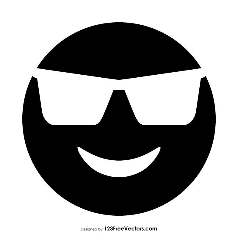 Black Smiling Face With Sunglasses Emoji Emoji Smile Face Graphic Image