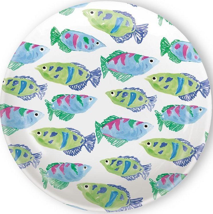 IHR Rosanne Beck Spring Garden Blue Fish Print Melamine TidBit Topper Plates RB15103