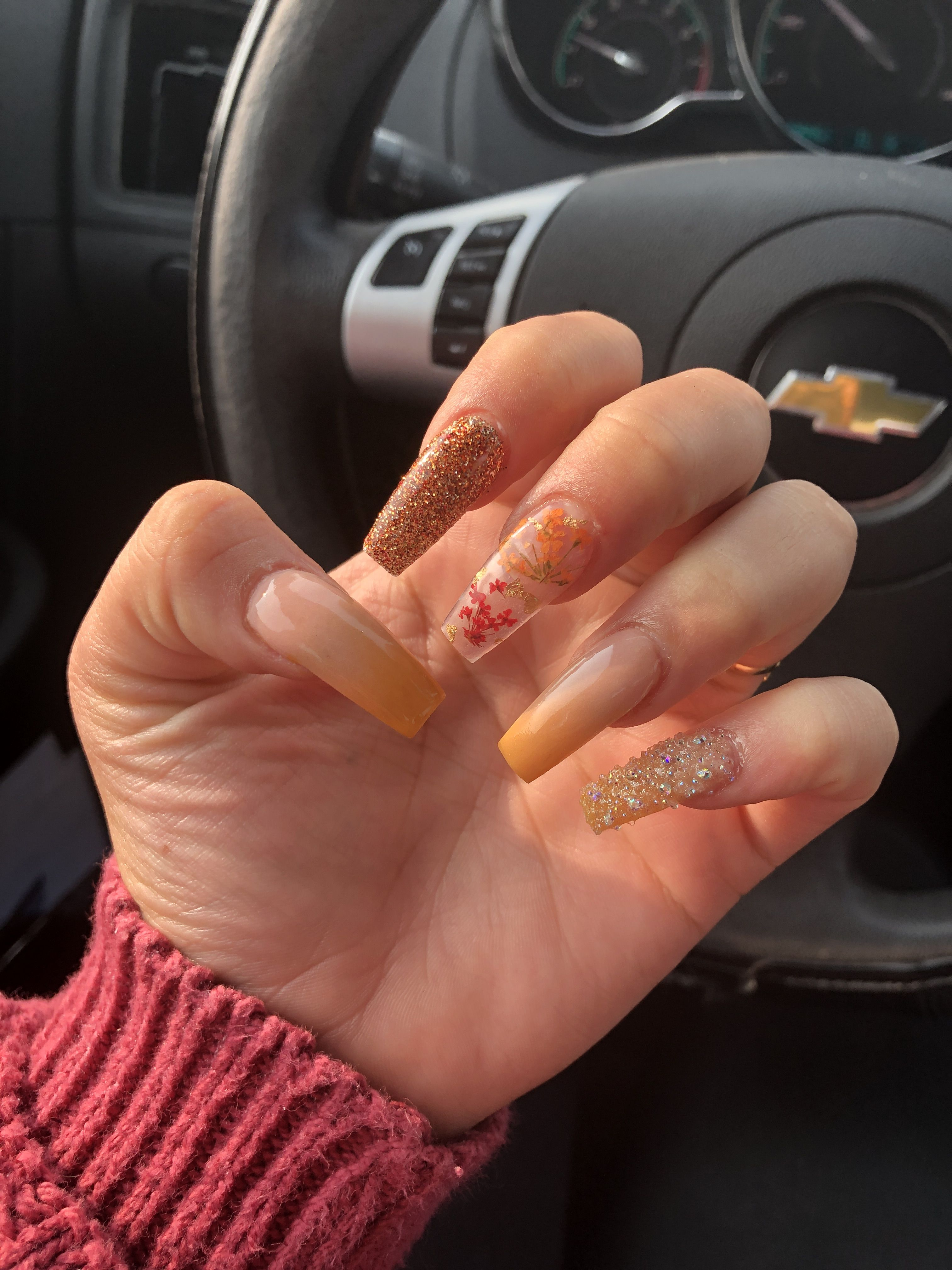 Fall Acrylic Nails Encapsulated Flowers Glitter Ombre Fall Acrylic Nails Autumn Nails Acrylic Nail Designs