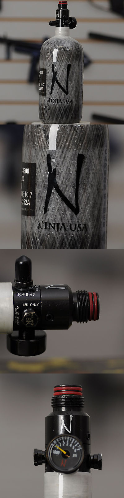N2 Tanks and Accessories 36287: New Ninja Grey Ghost Carbon Fiber Hpa Air Tank W/ Adjustable Regulator - 45/4500 -> BUY IT NOW ONLY: $155.95 on eBay!
