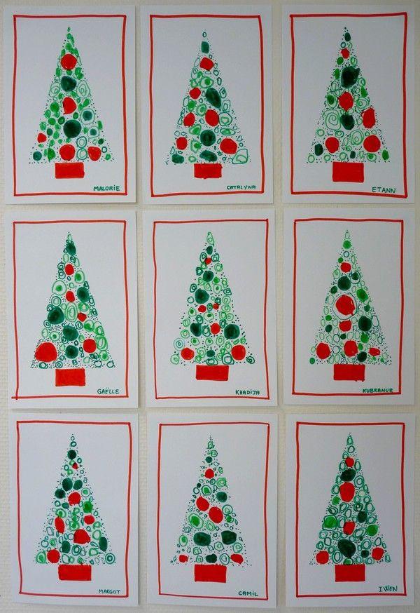 Carte Sapin de Noël (avec images) | Carte noel maternelle