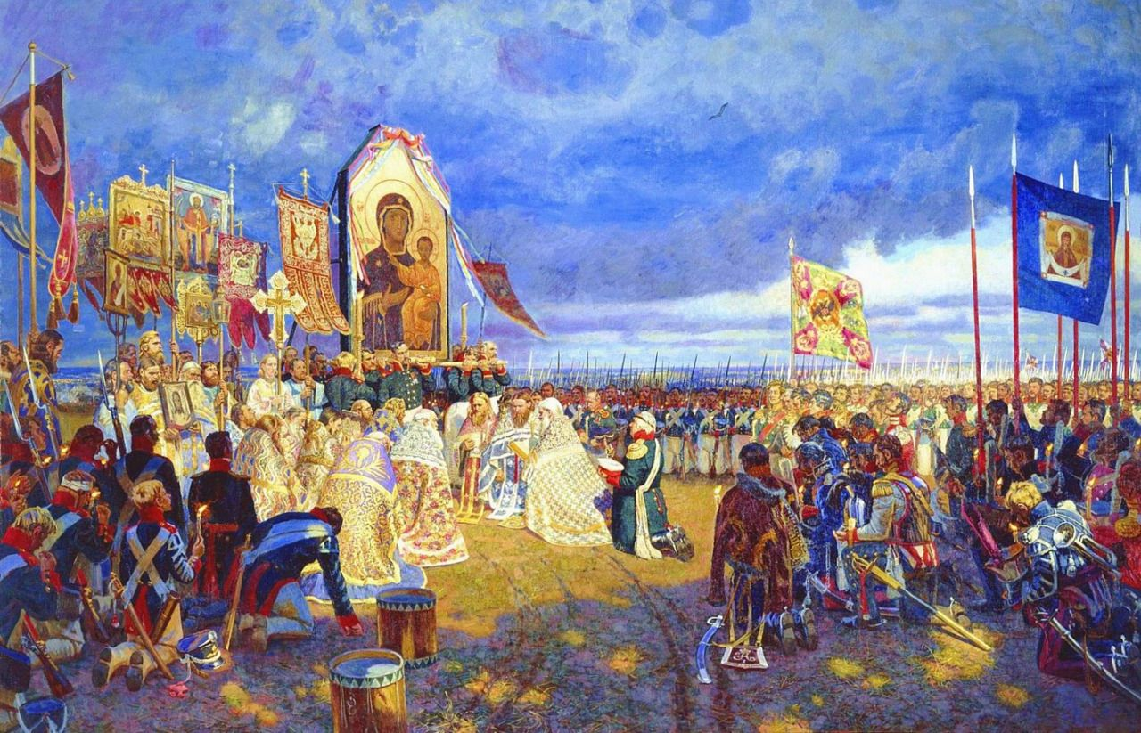 Image result for orthodox priest blessing troops 1812