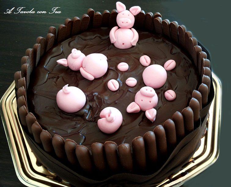 torta piscina di cioccolato con maialini - Cerca con Google