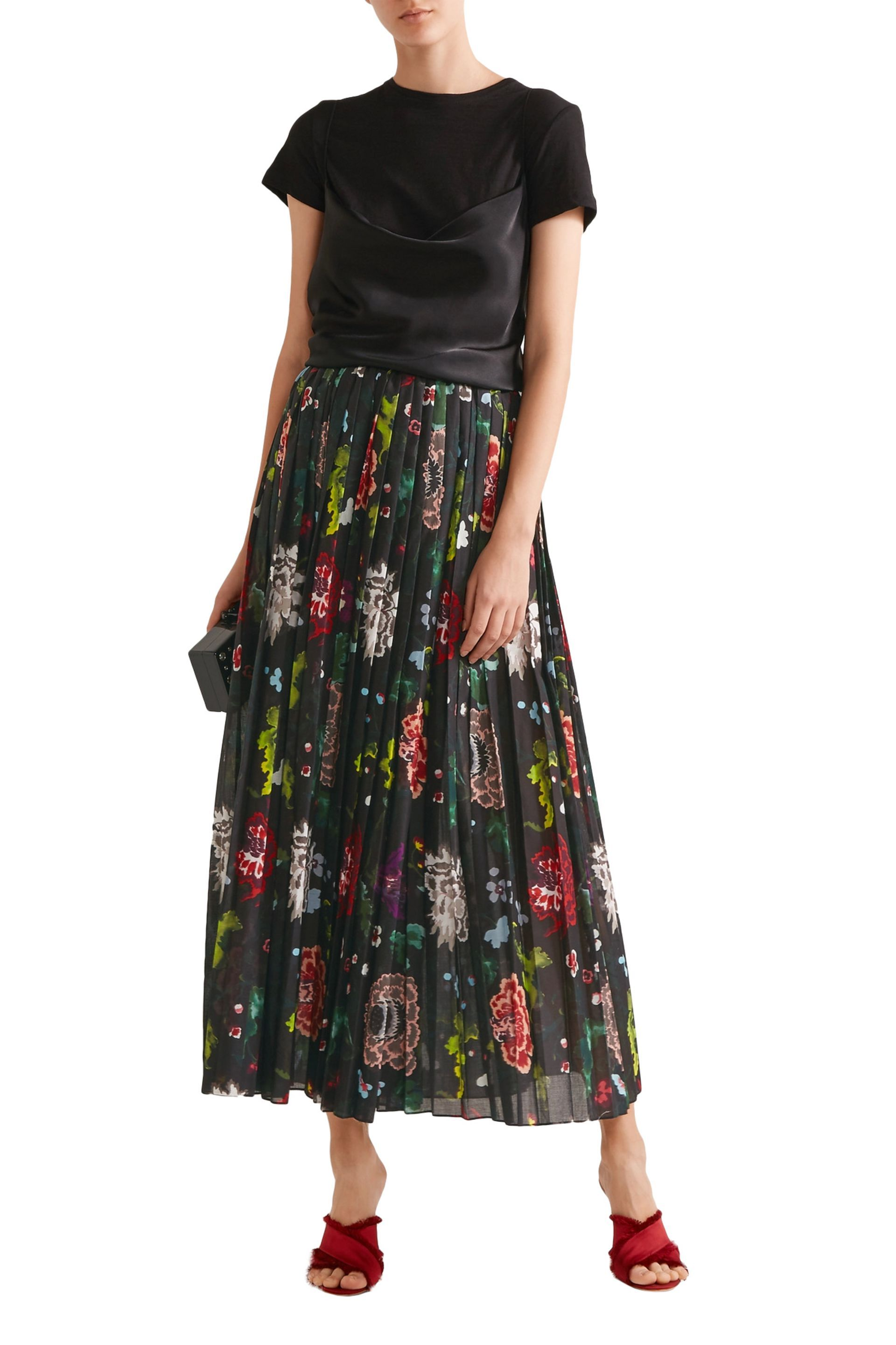ac544285245 Pleated floral-print voile wrap skirt