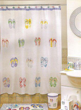 Amazon Com Flip Flops Fabric Shower Curtain Fabric Shower