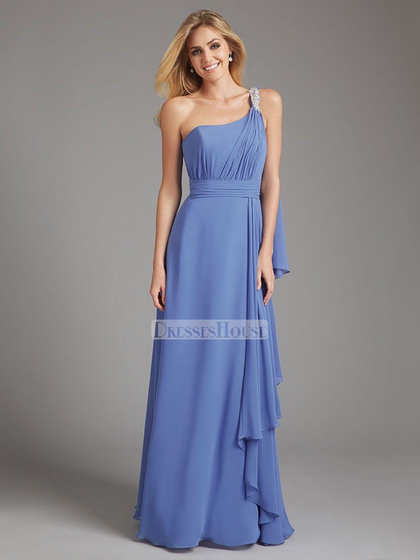 Elegant one shoulder ruched ruffled crystal chiffon bridesmaid dress