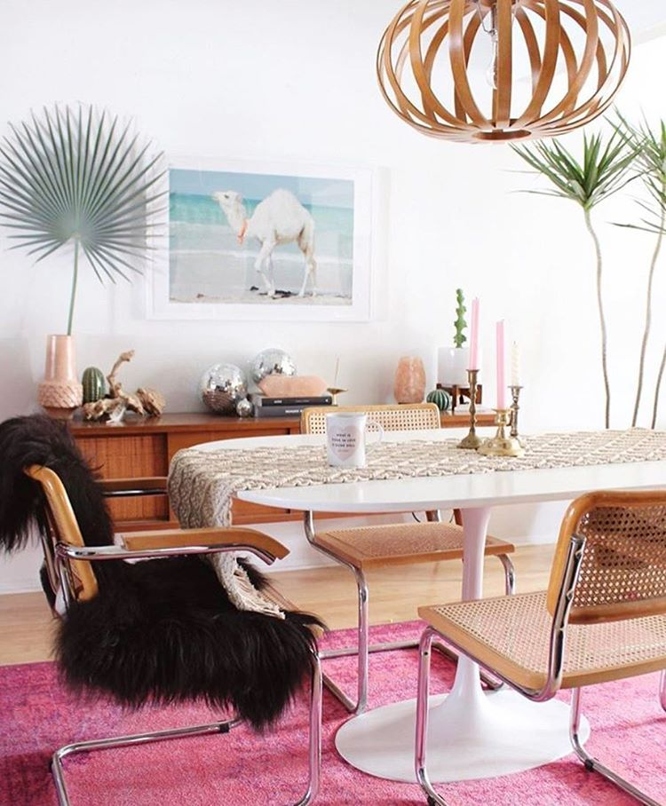 Superb Inspired By This Glam Pink Dining Room! Cozy Rug, Plants, Mid Century Chairs Images