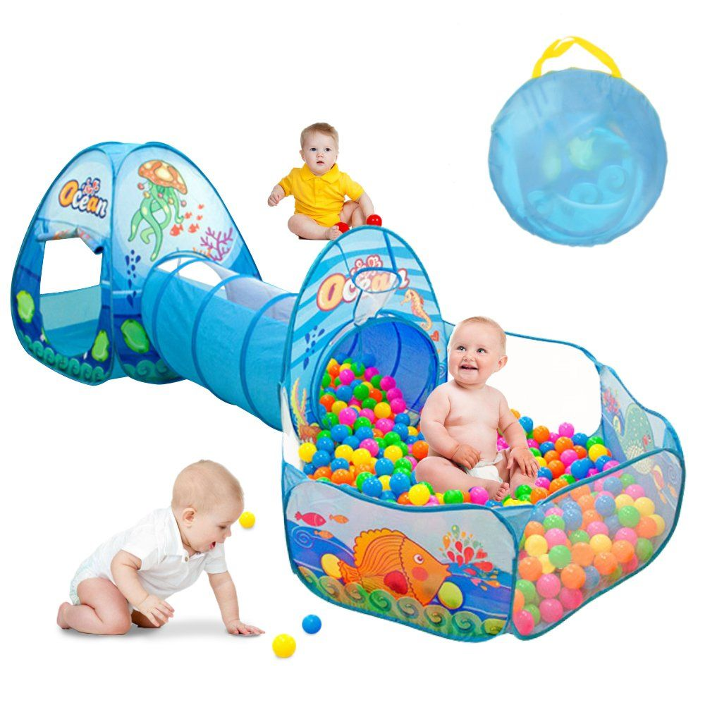 Kids Play Tent with Tunnel Ball Pit Play House for Boys Girls Babies  sc 1 st  Pinterest & Kids Play Tent with Tunnel Ball Pit Play House for Boys Girls ...