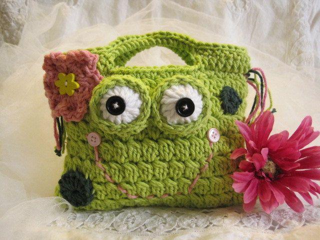 Crocheted Froggy  Hand Bag for Children.  via Etsy.