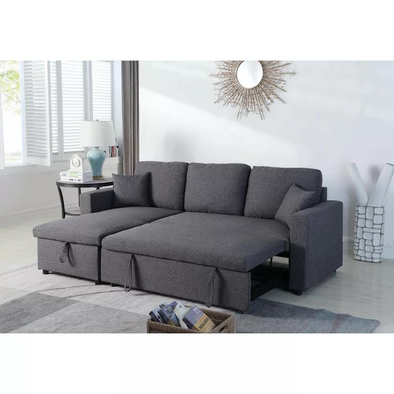 Vernita 87 Reversible Sleeper Sectional In 2020 Pull Out Bed Sectional Sleeper Sofa Sleeper Sectional