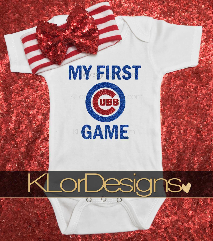 My First Baseball Game Cubs esie Chicago onesie baseball onesie