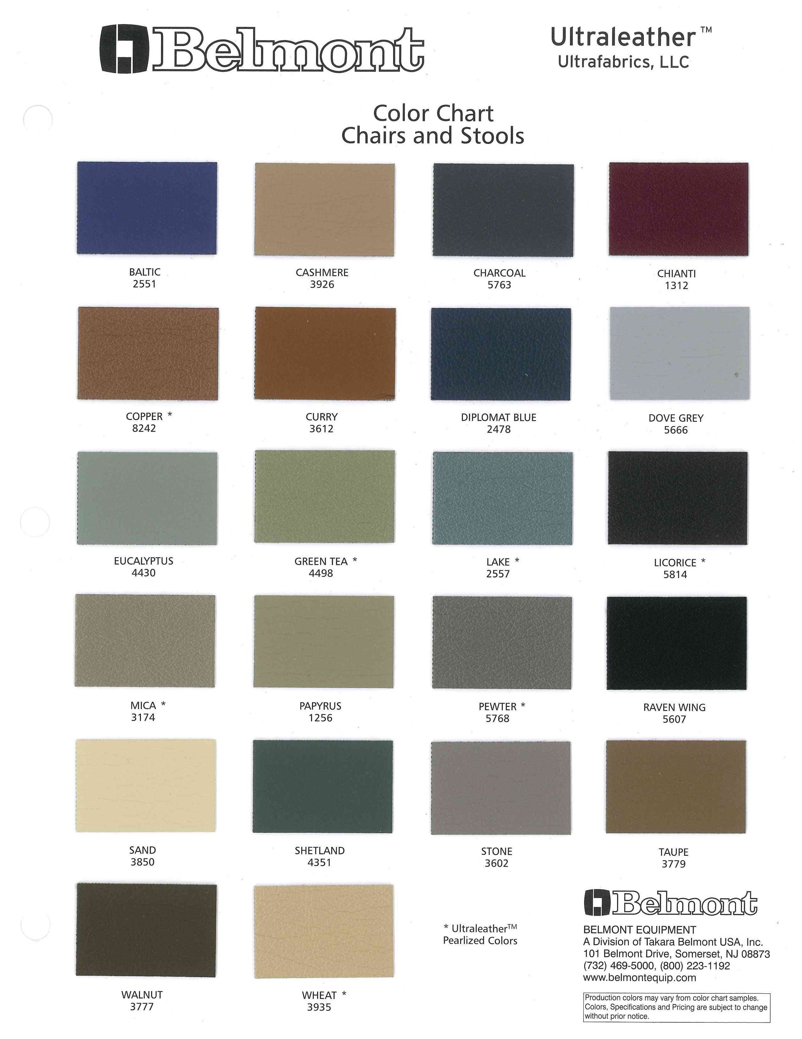 Color Chart Ultraleathertm Chairs And Stools Belmont