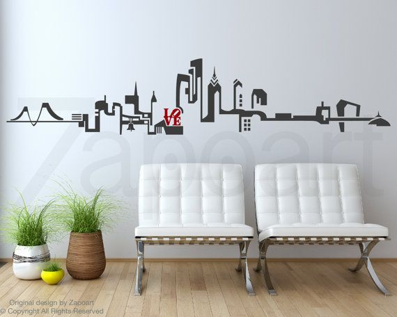 Philadelphia Skyline Wall Decal by Zapoart on Etsy & Philadelphia Skyline Wall Decal by Zapoart on Etsy | Quotes ...