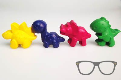 Dino Crayons set of 4 by Mini Geek Boutique
