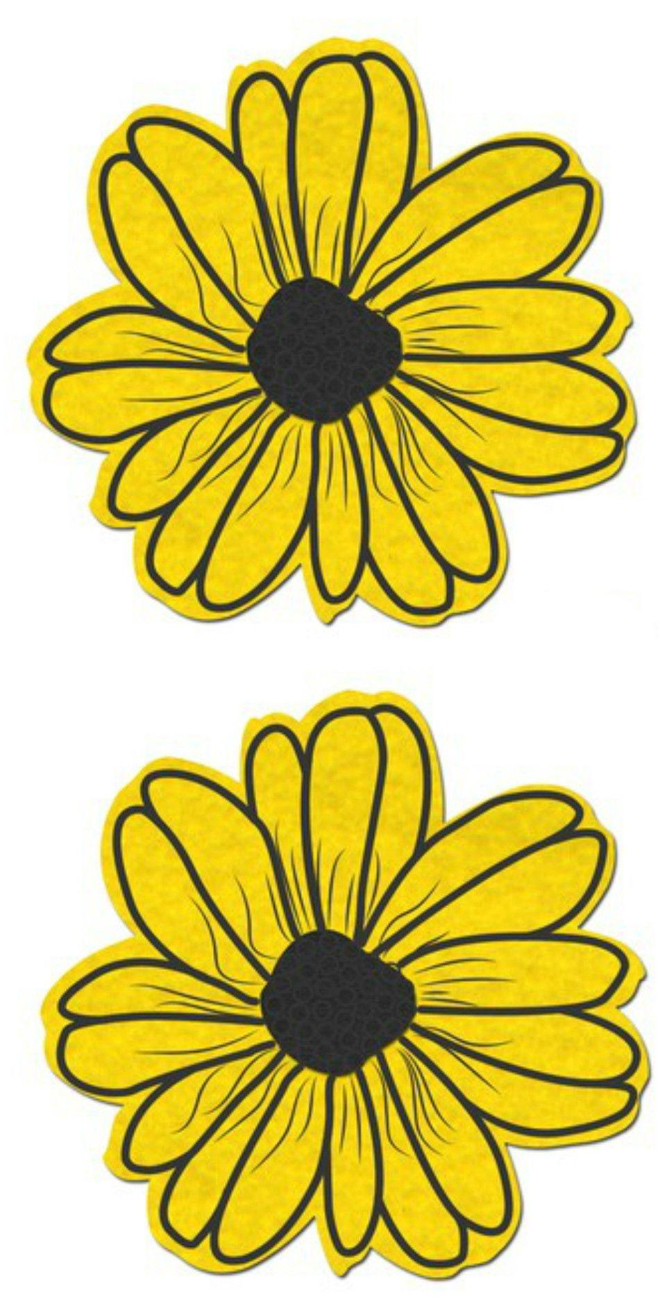 Daisy Yellow And Black With Black Flower Nipple Pasties Festivals