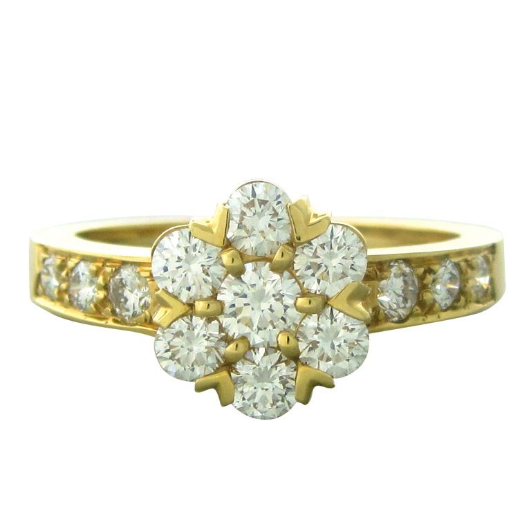 Van Cleef & Arpels VCA Fleurette Gold Diamond Ring | 1stdibs.com