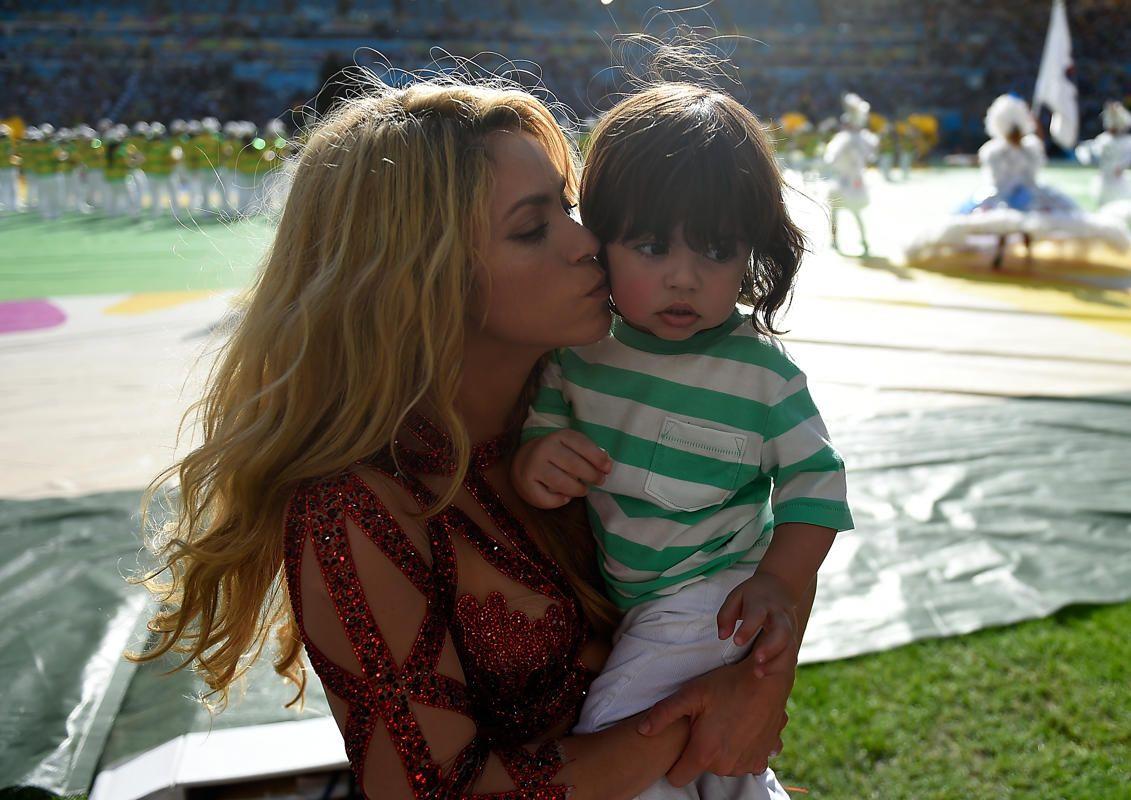 La chanteuse Shakira et son fils, le 13 juillet 2014 à Rio de Janeiro