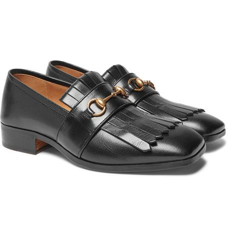 a363ee9a027 Gucci - Gran Duca Horsebit Fringed Grained-Leather Loafers