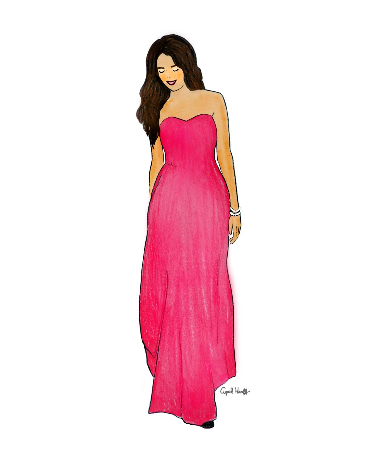 Pink dress illustration  Pretty In Pink Dress Print Fashion Illustration by aprilmarionART