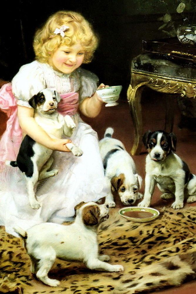 Print Portrait Victorian Girl Tea Cup Party Jack Russell Terrier Dog Puppies Realism Dog Paintings Dog Art Vintage Dog