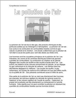 Compréhension De L Oral A2 La Pollution De L Air Comprehension Ecrite Texte Et Questions