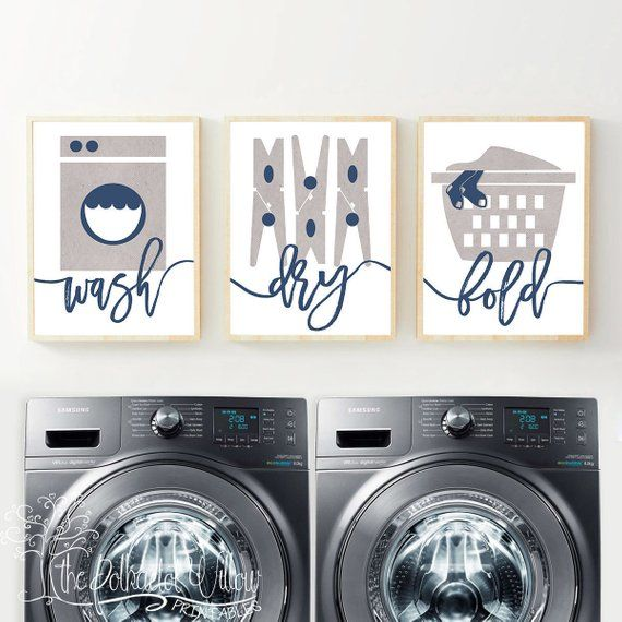 11x14 Laundry Room Print - Navy Laundry Room Print, Laundry Room Art, Laundry Room Poster, Laundry Wall Art, Laundry Decor, farmhouse decor #graylaundryrooms