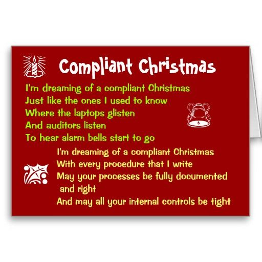 Compliant Christmas Funny Auditing Song Parody Card