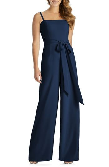 New Dessy Collection Alana Crepe Jumpsuit online #bridesmaidjumpsuits