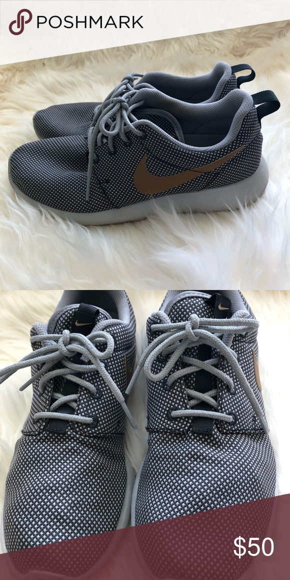 buy popular f1447 c51c1 Nike Roshe Size 6, Gold Grey color way. These are super rare and I love  them but I never wear. Have been worn around 10 times. Still in excellent  condition, ...