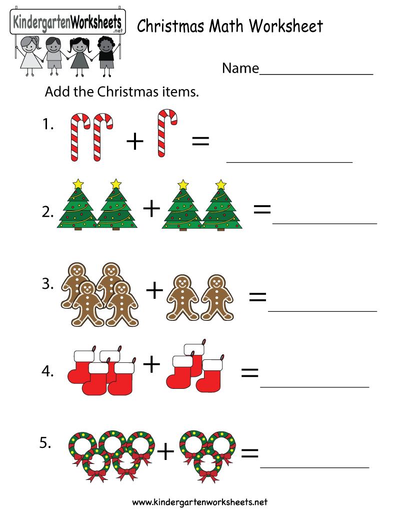 Kindergarten Christmas Math Worksheet Printable   Christmas math worksheets [ 1035 x 800 Pixel ]