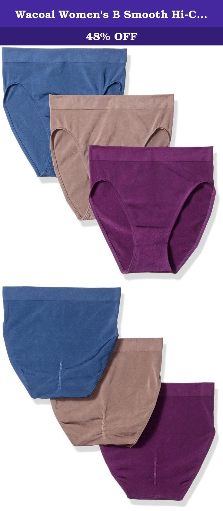 b2c8210a29d5 Wacoal Women's B Smooth Hi-Cut Brief Panty Pack, Cappuccino/Dark Denim/Wine  Berry, Large. Awareness full figure underwire bra offers molded cups that  offers ...
