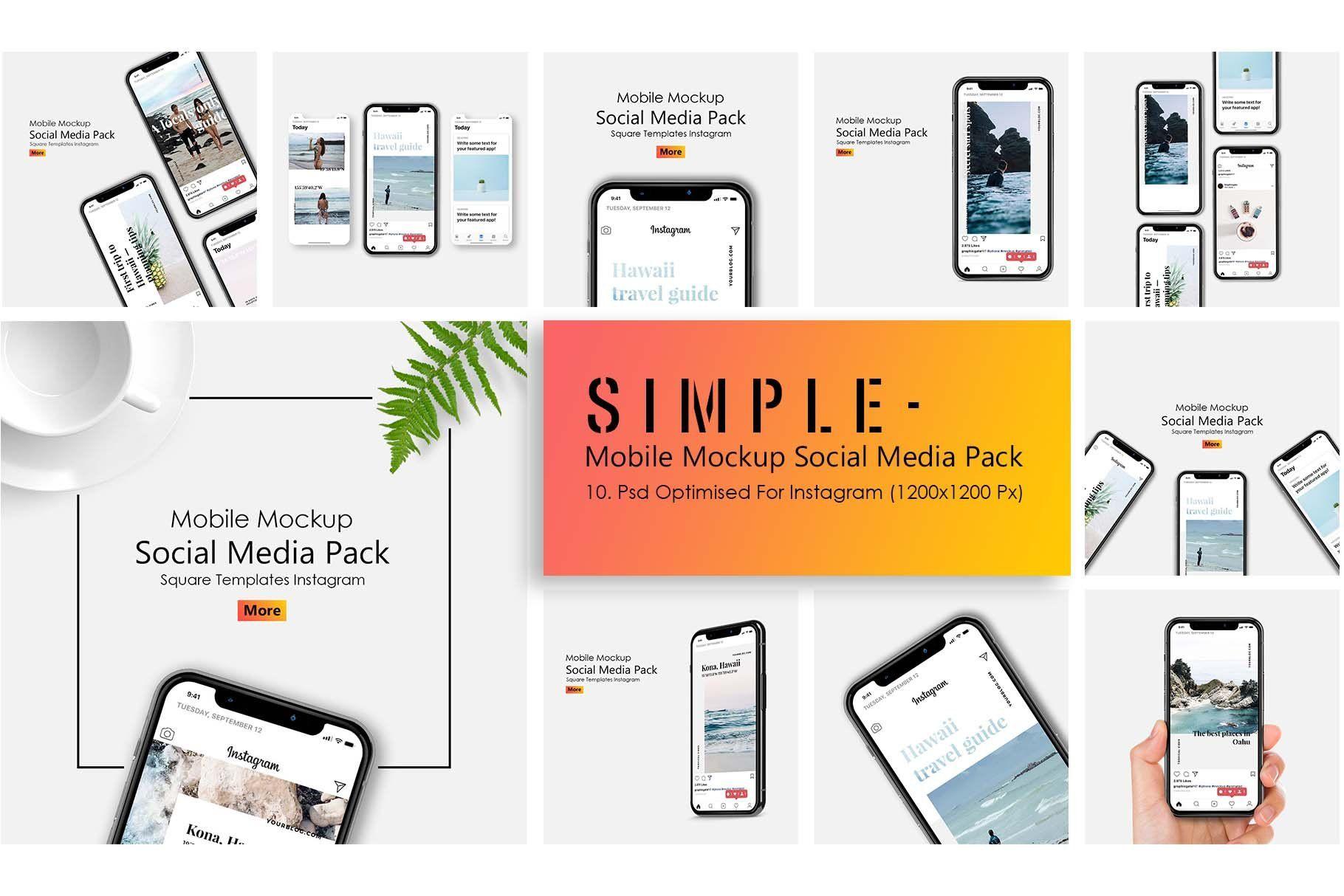 Iphone X Mockup Social Media Pack Social Media Pack Instagram Mobile Social Media