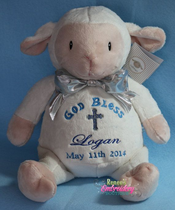 Personalized baby baptismal gift embroidered soft plush baptism personalized baby baptism gift embroidered soft plush lamb custom made on etsy 3000 negle Gallery