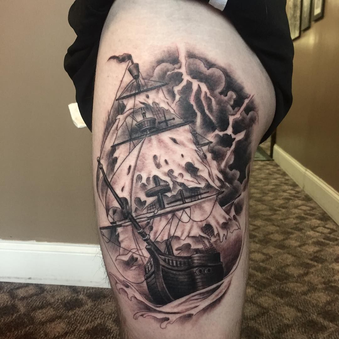 50 best pirate ship tattoo meaning and designs masters for Pirate tattoo meaning