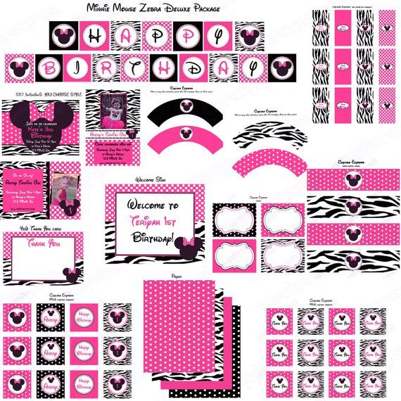 Zebra Minnie Mouse Food Labels Birthday Party PRINTABLE Favor Tags Pink Black Display Cards Weddin