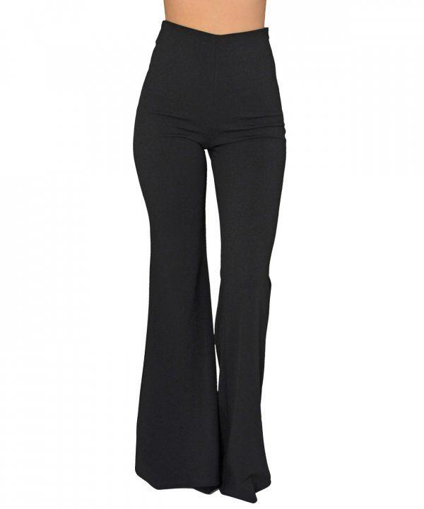 3fa28ef9e13 Γυναικεία ψηλόμεση παντελόνα σε φαρδιά γραμμή μαύρη 8076139Q ...