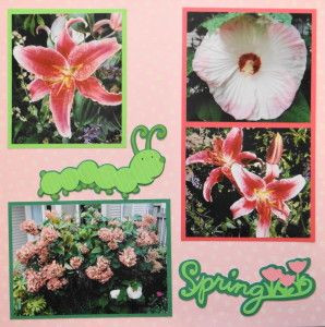 Flower Garden scrapbook page with a Caterpillar & Spring title from Cricut's Stretch Your Imagination