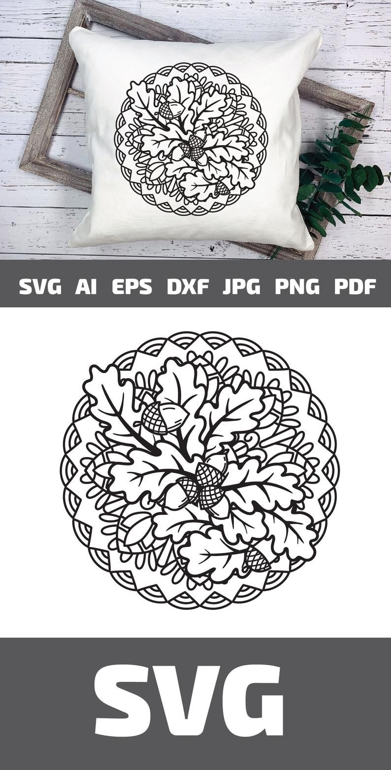 Fall Mandala SVG Zentangle Leaves SVG Acorn SVG Autumn svg