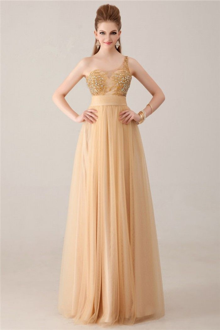 a line one shoulder chagne gold tulle beaded