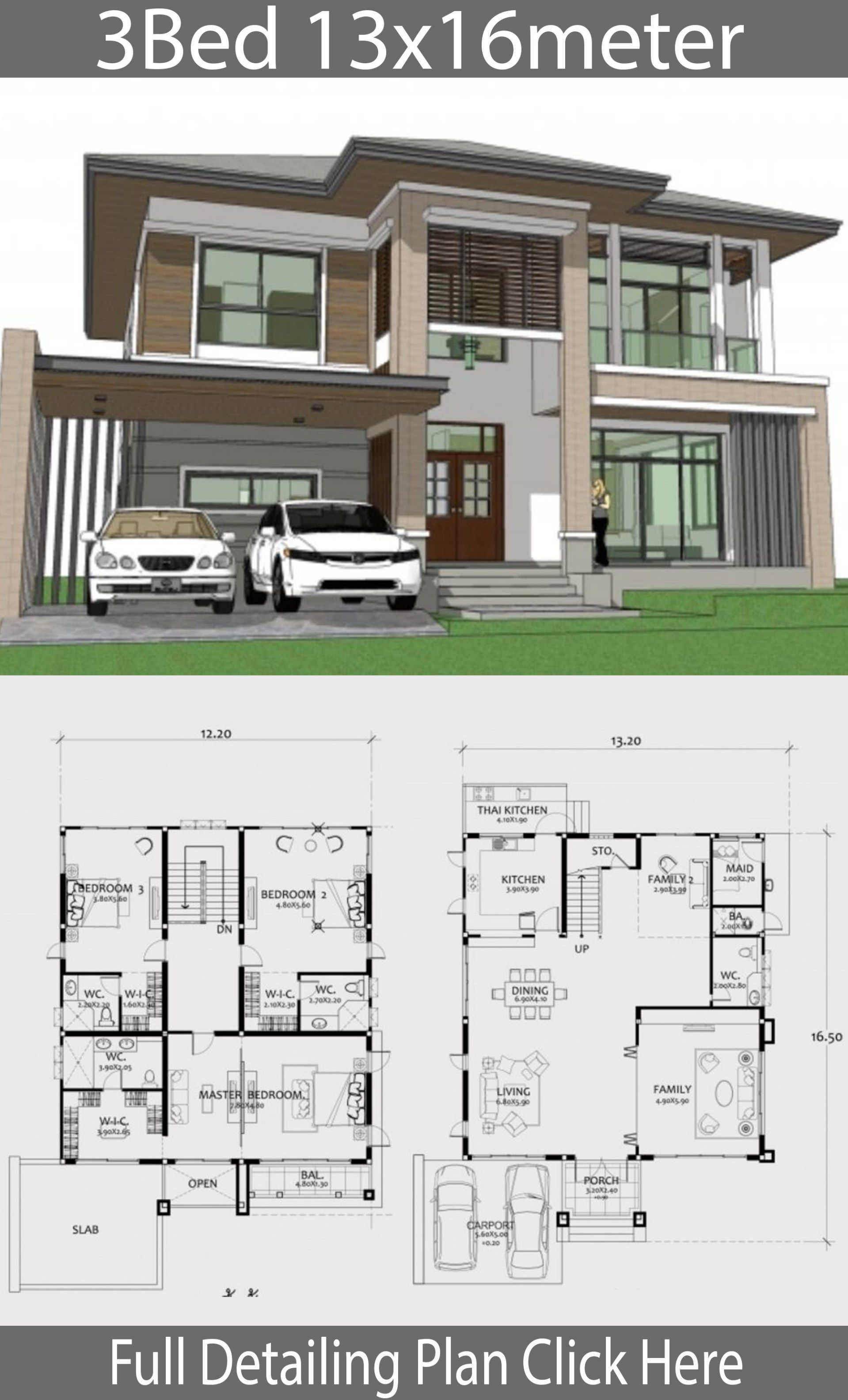 Home Design Plan 13x16m With 3 Bedrooms Home Ideas Architectural House Plans Model House Plan House Architecture Design